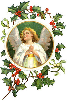 Vintage Christmas Clipart - Angel in White in a Wreath of Holly