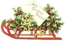 Vintage Christmas Clipart - Sleigh with holly and mistletoe
