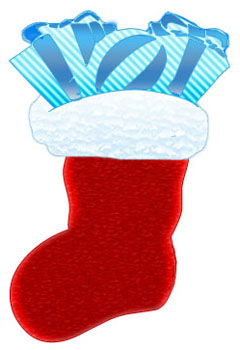 Red Christmas Stocking with Christmas gifts