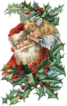 Vintage Christmas Clipart - Little Girl  Whispering to Santa Claus