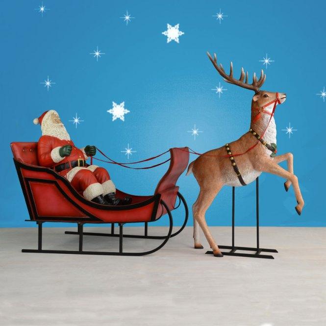 Mold Christmas Santa Sleigh And Reindeer 72 Brand New Lighted Lawn Decor