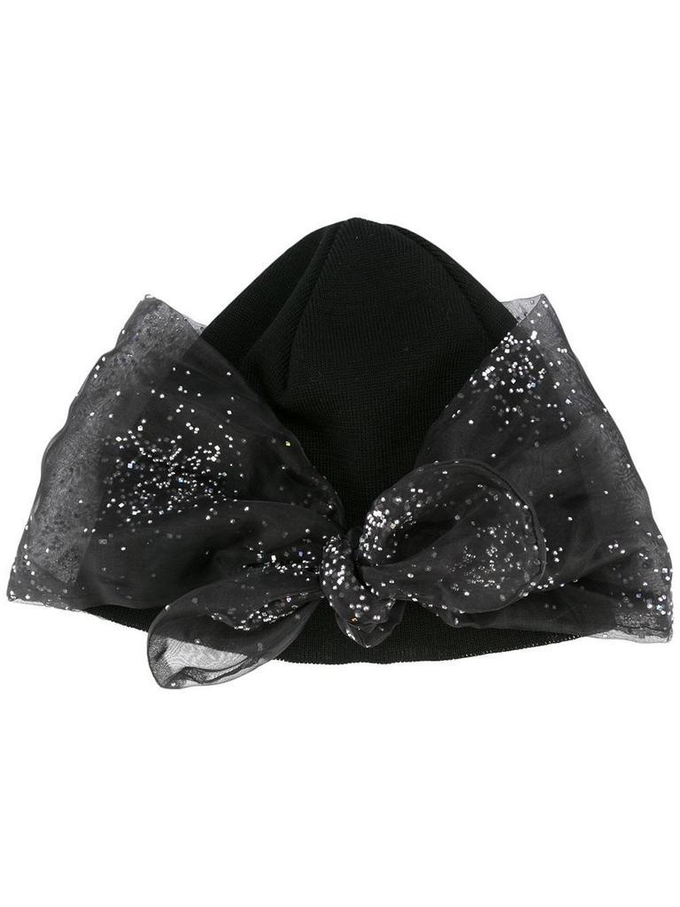 'Glitter Bow Detail' beanie by FEDERICA MORETTI | $99