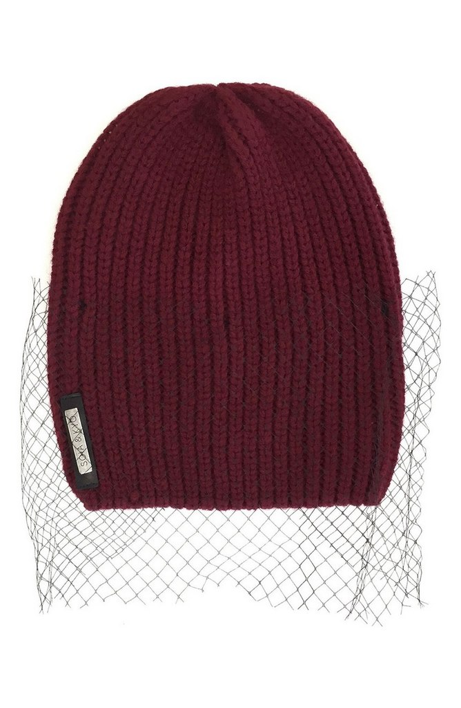 Mesh Overlay Ribbed Beanie by Soia & Kyo | $45