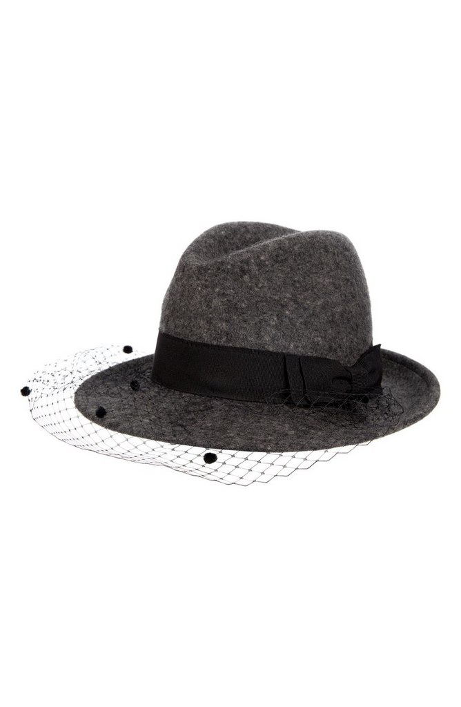Wool Trilby with Veil by Helene Berman | $140