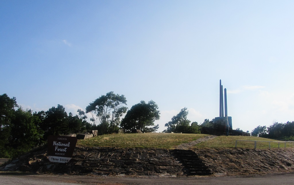 Three Sticks Monument at Ouachita National Forest - Road Trip - 26 Places to Visit in Arkansas - Christobel Travel