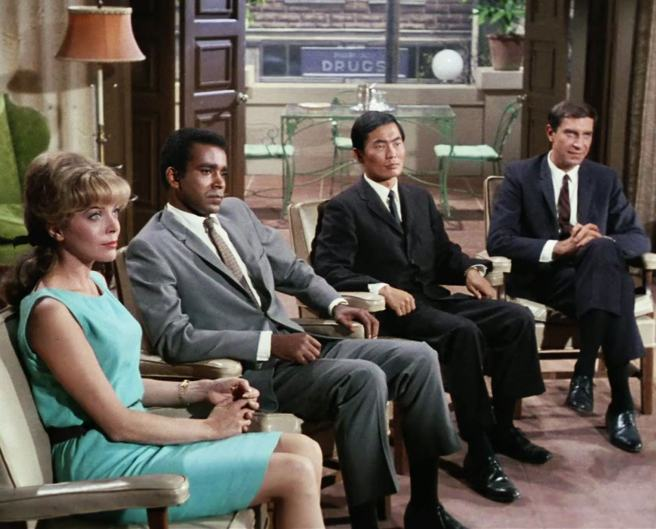 "The IMF penetrates an enemy operation in ""The Carriers"" (Barbara Bain, Greg Morris, George Takei, Martin Landau)"