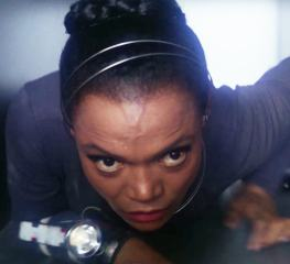 "Tina Mara (Eartha Kitt) navigates an embassy ventilation system in ""The Traitor"""