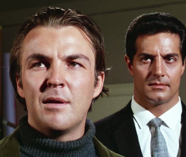 """David Redding (Anthony Zerbe) is threatened by Willy (Peter Lupus) in """"The Photographer"""""""