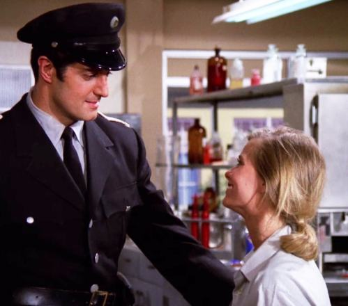 """In """"The Controllers,"""" Willy (Peter Lupus) rescues a test subject (Brooke Bundy) from a mind control experiment"""