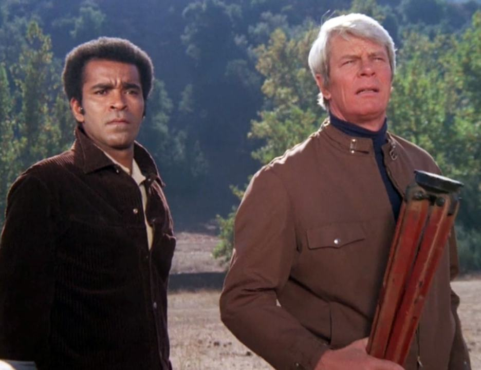 "Surveyors Barney (Greg Morris) and Phelps (Peter Graves) are confronted in ""The Western"""