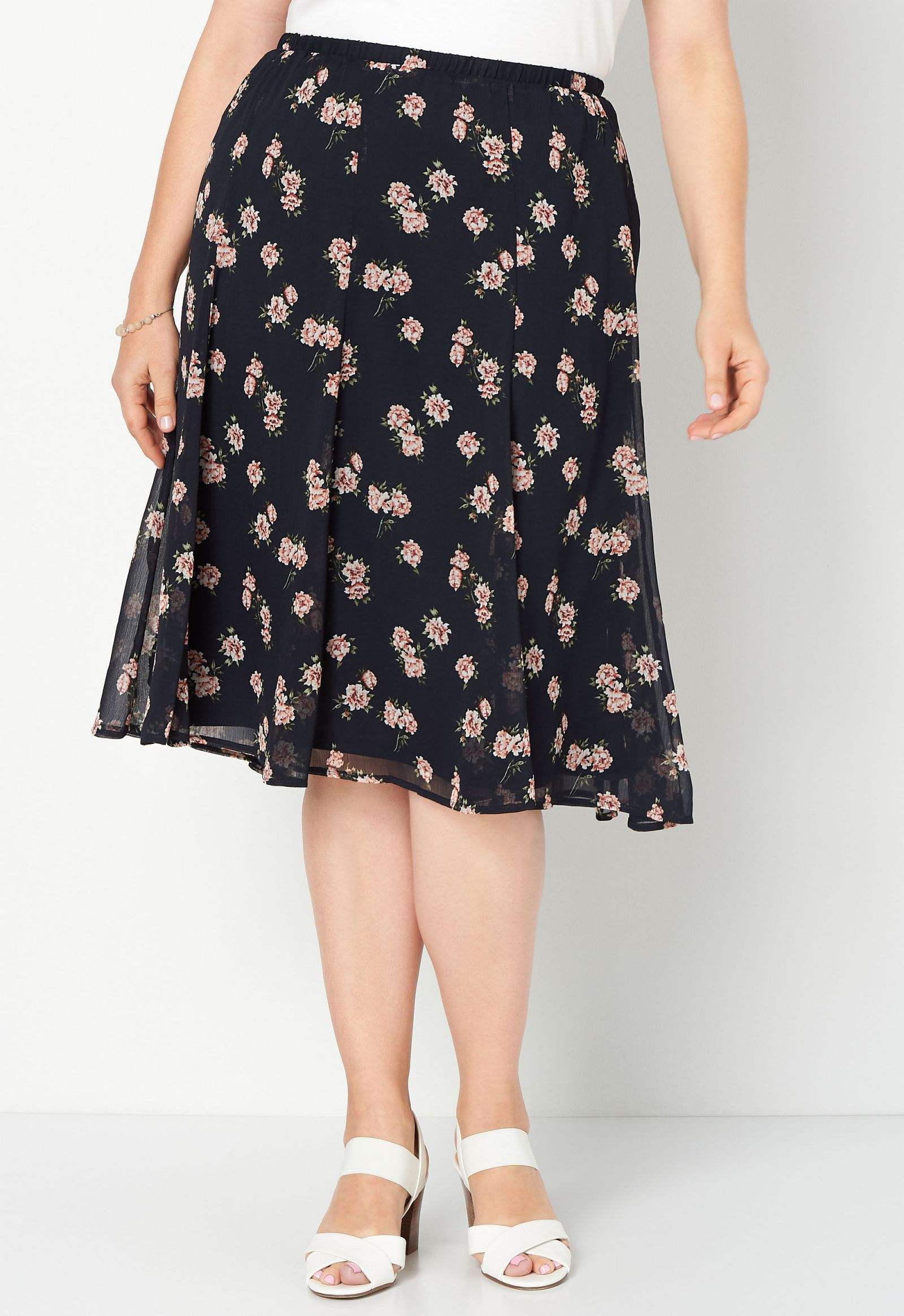 Floral Printed Plus Size Skirt 2