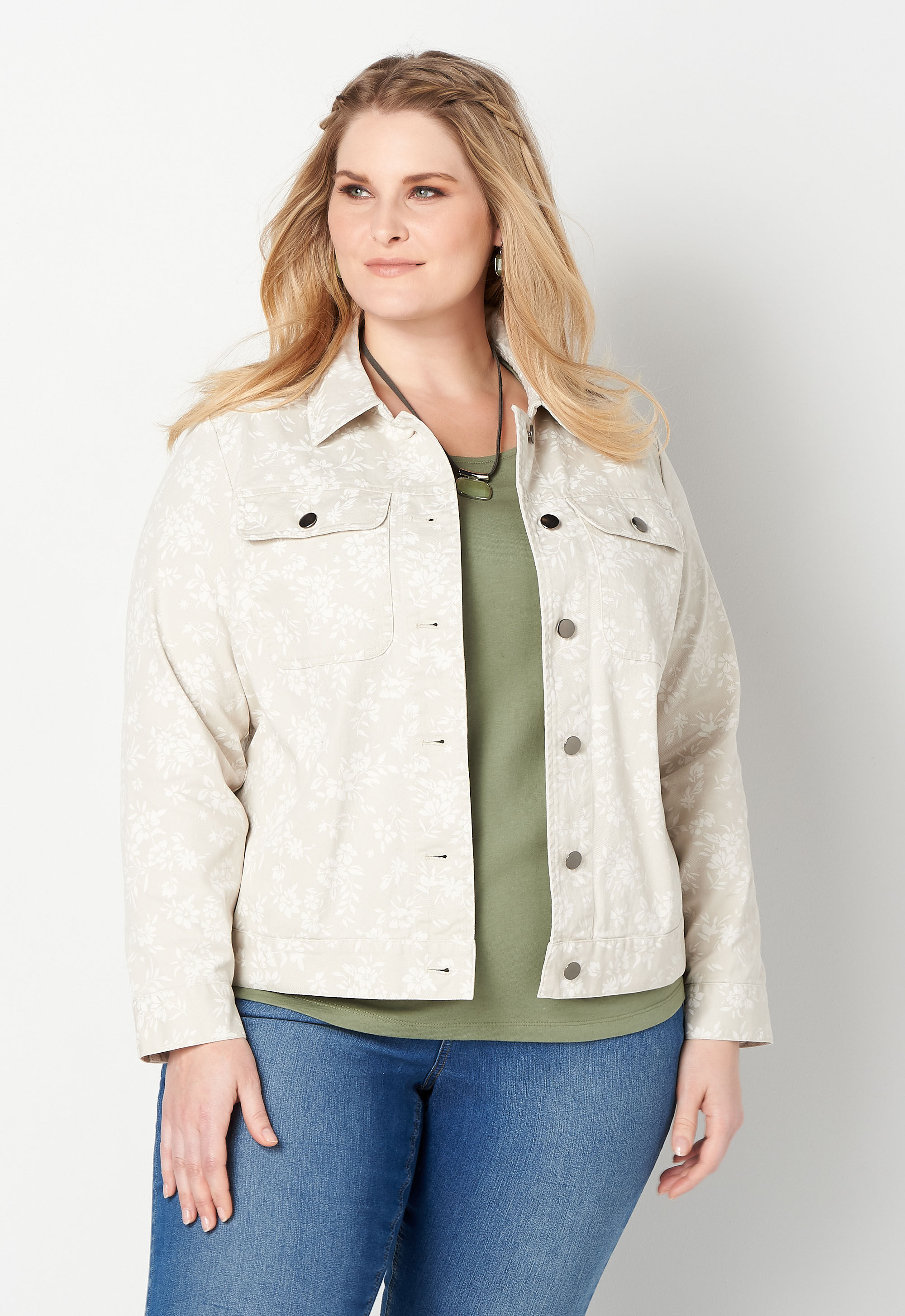 Printed Twill Plus Size Jacket 4