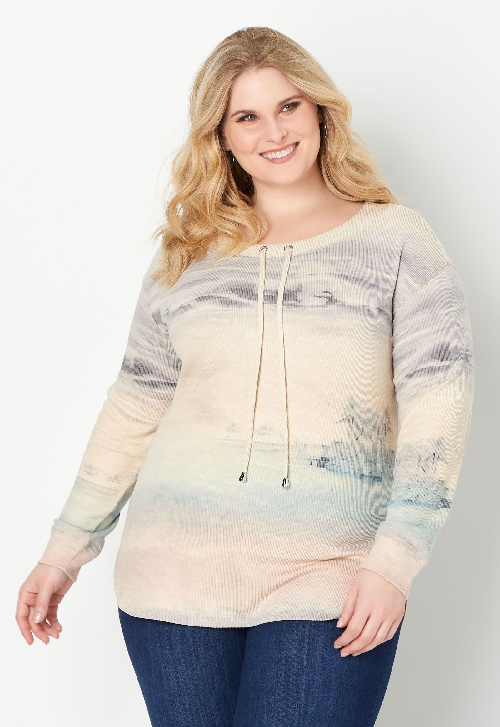 Ombre Sunset Plus Size Knit Top 2