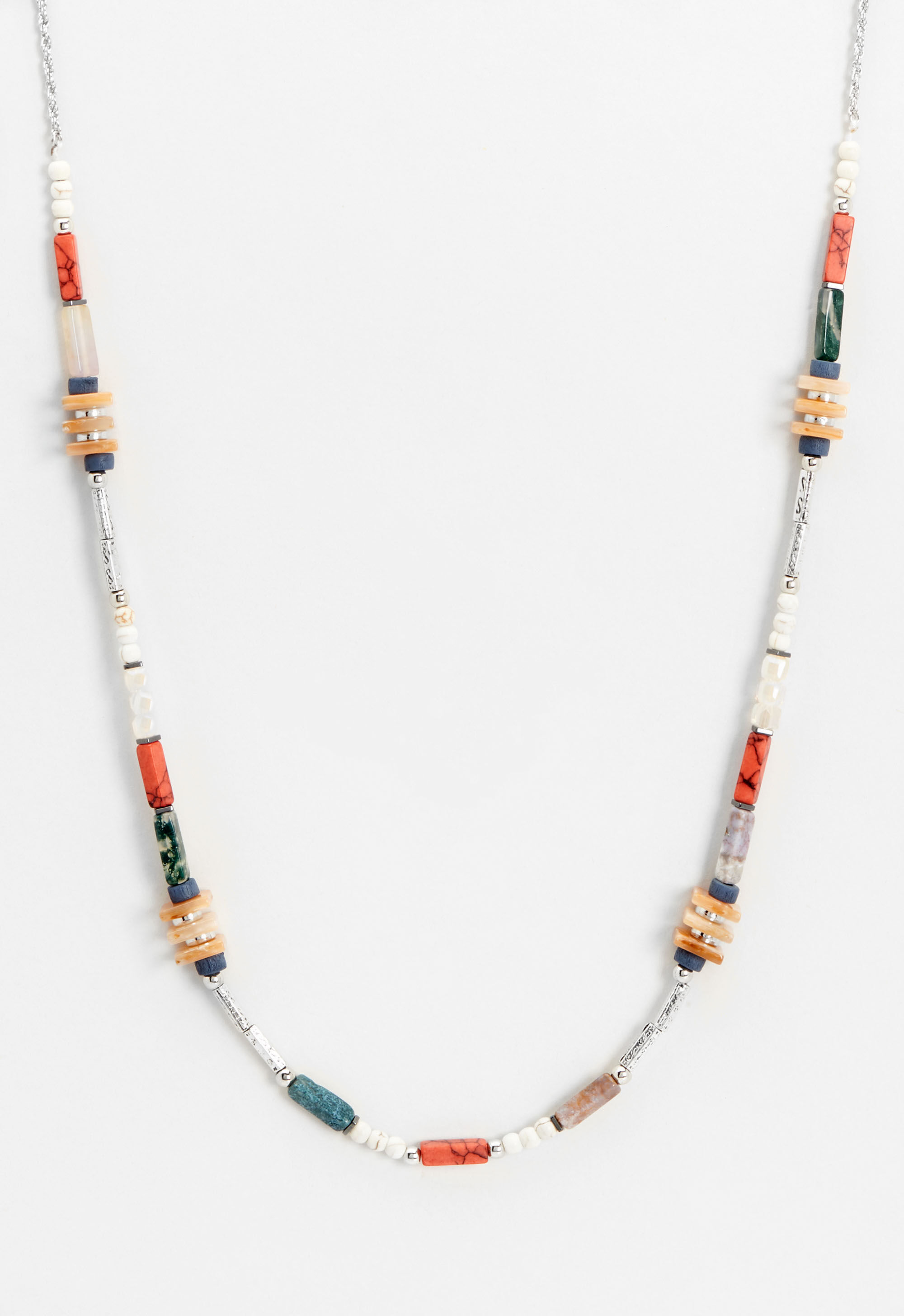Long Mixed Beaded Necklace 11