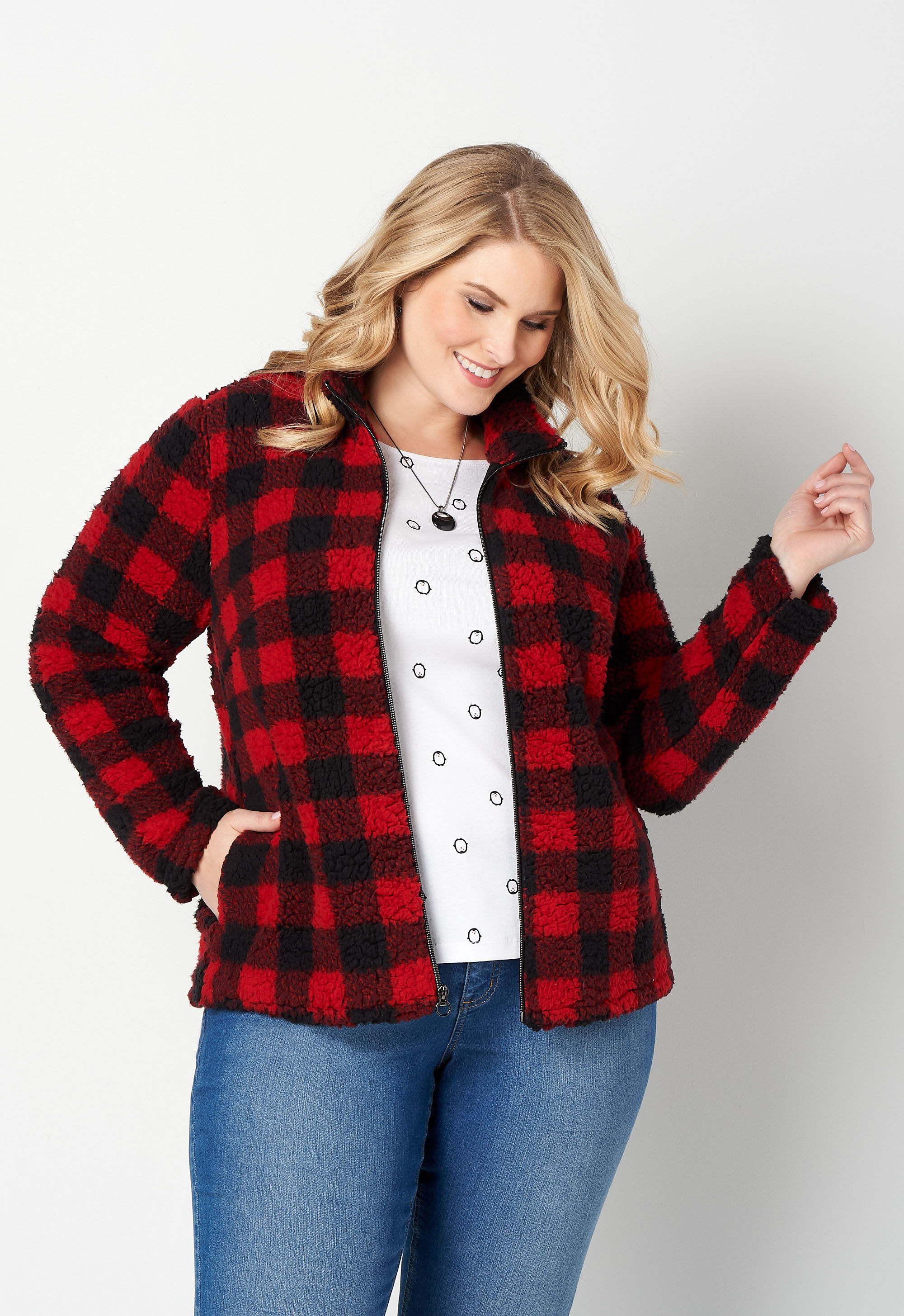 Cozy Buffalo Check Printed Plus Size Jacket 4