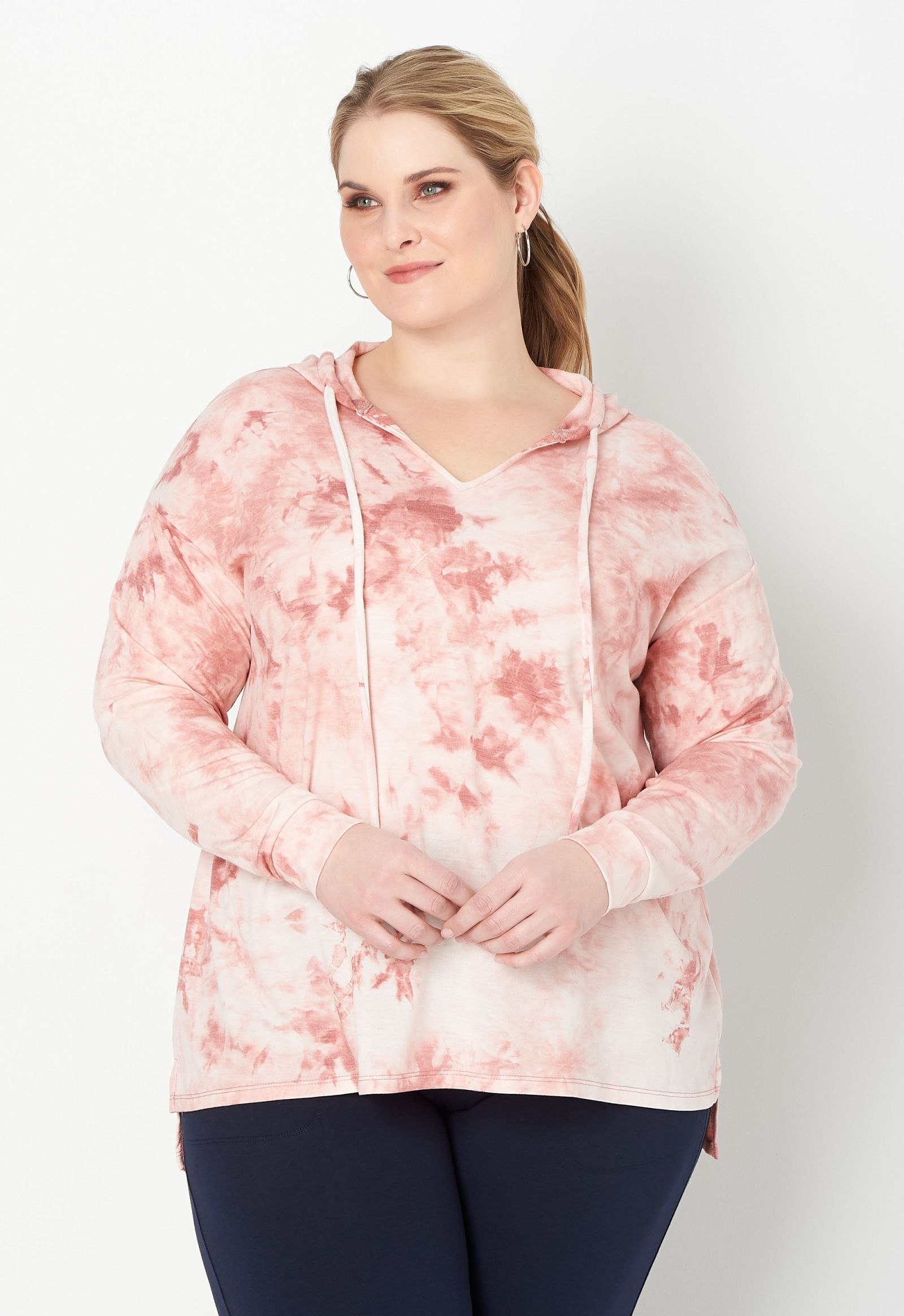 Relaxed Restyled Plus Size Tie Dye Hooded Top 2