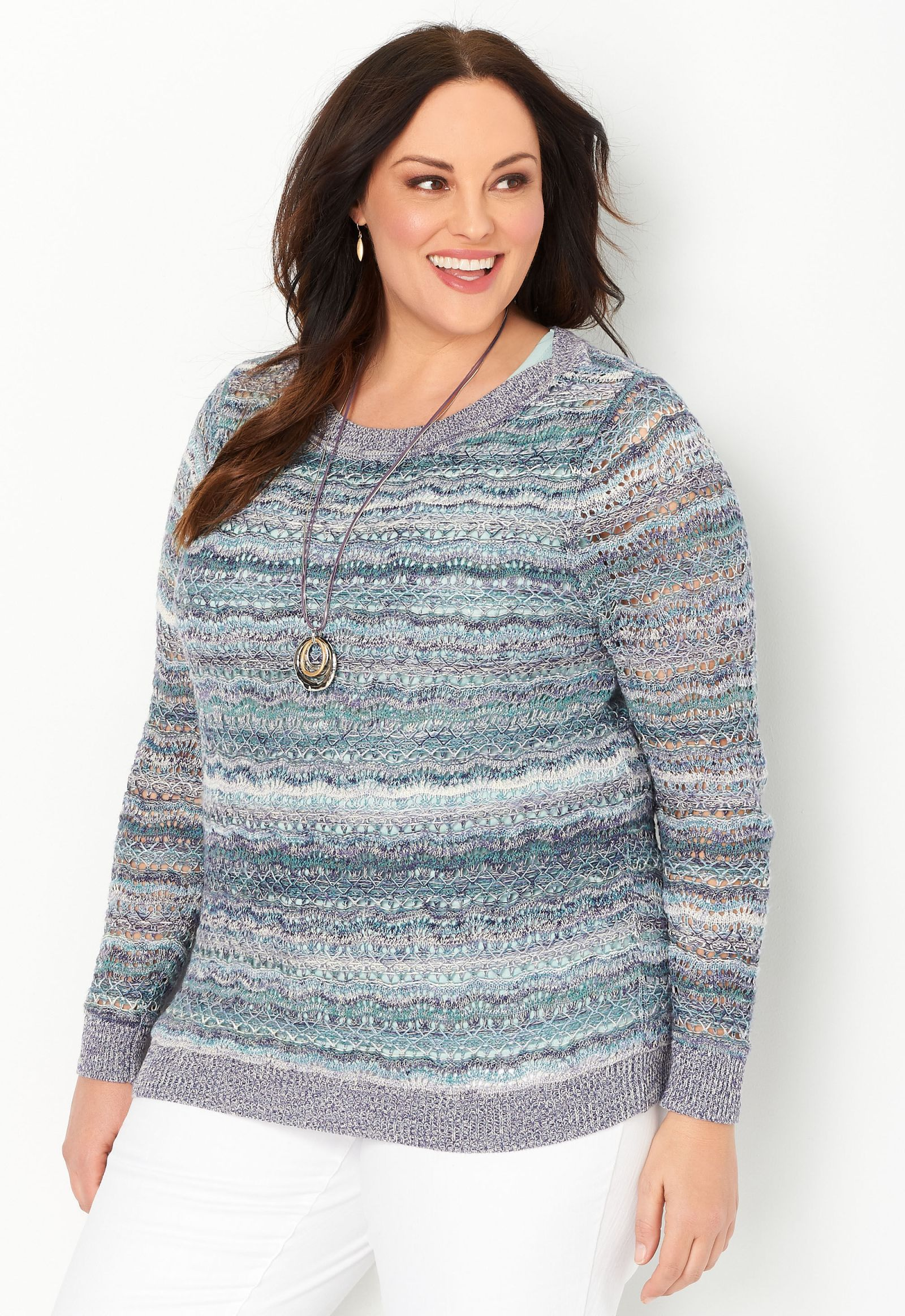 Space Dye Pointelle Plus Size Pullover Sweater 2