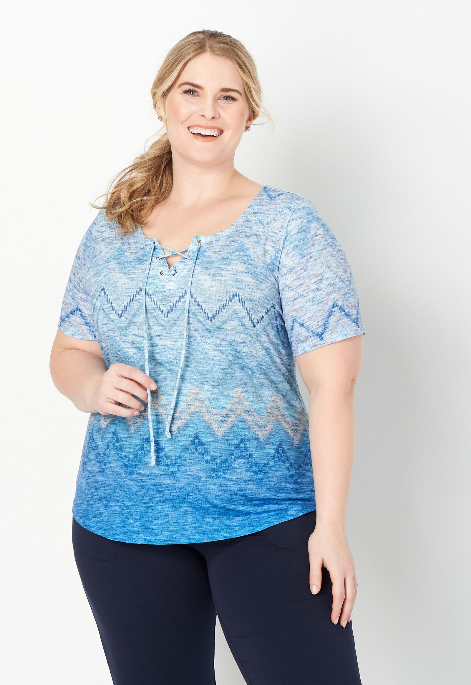 Relaxed Restyled Plus Size Chevron Printed Tee 2