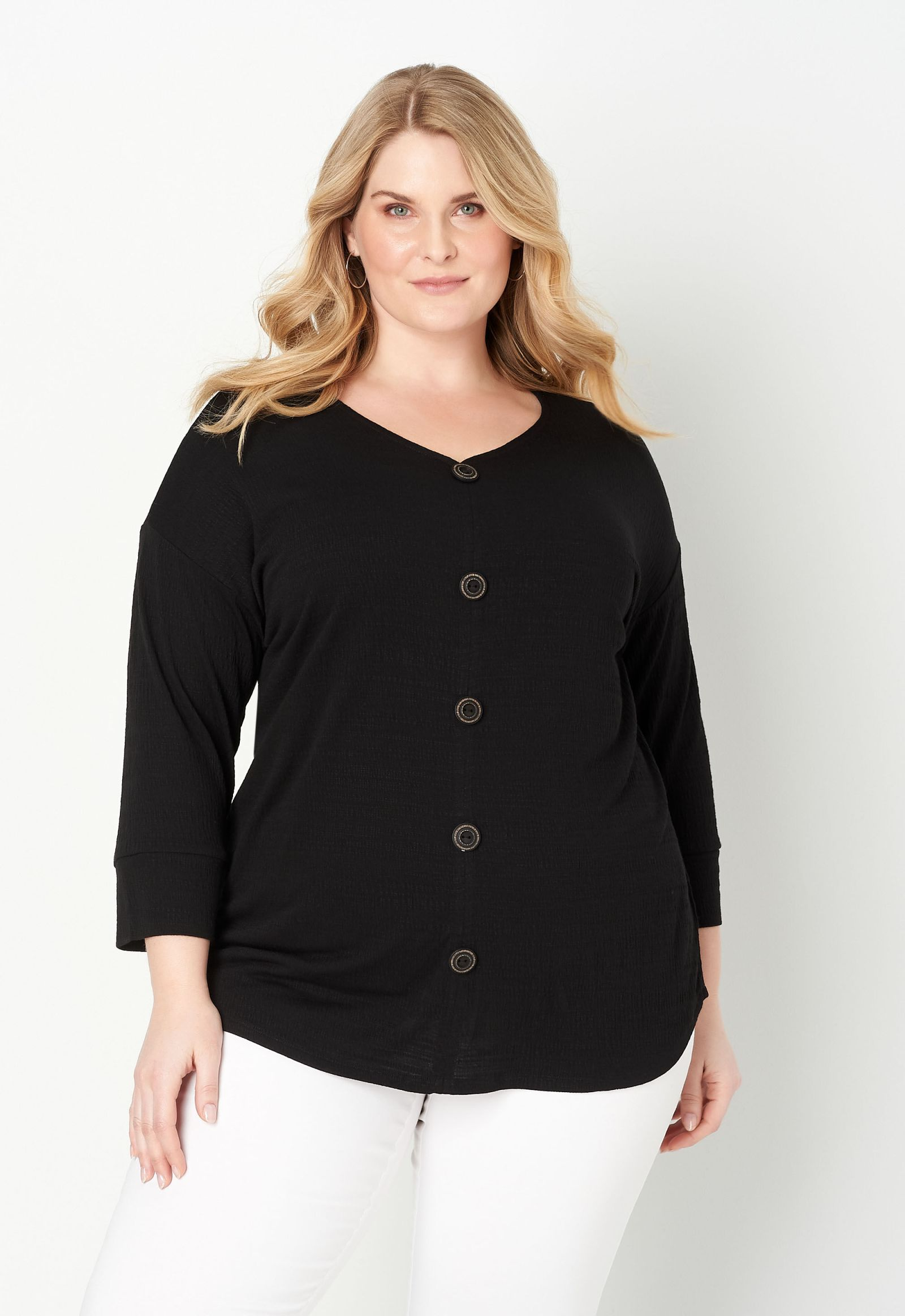 Button Front Solid Plus Size Knit Top 2