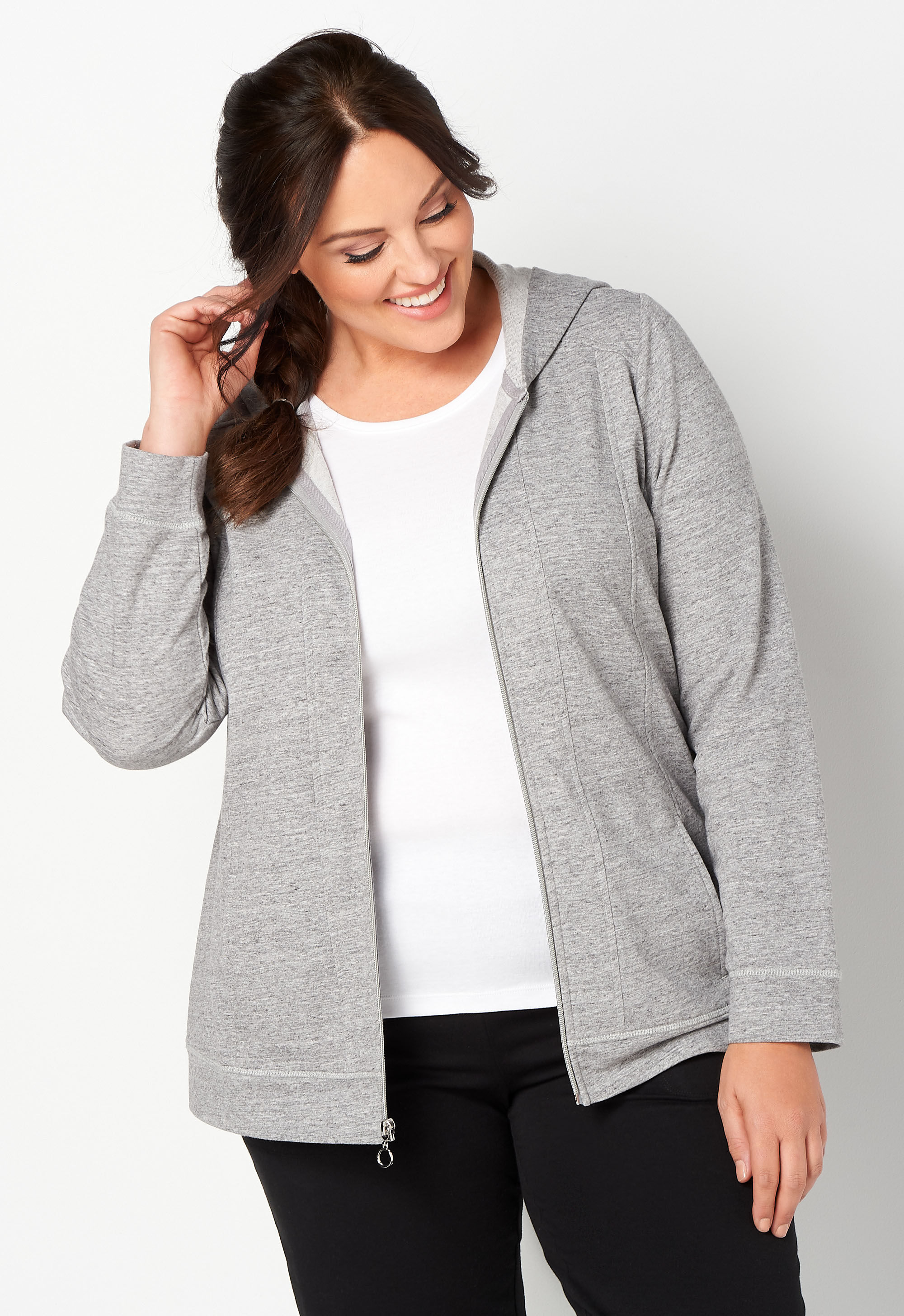 Relaxed Restyled Plus Size Zip Up Hooded Jacket 7