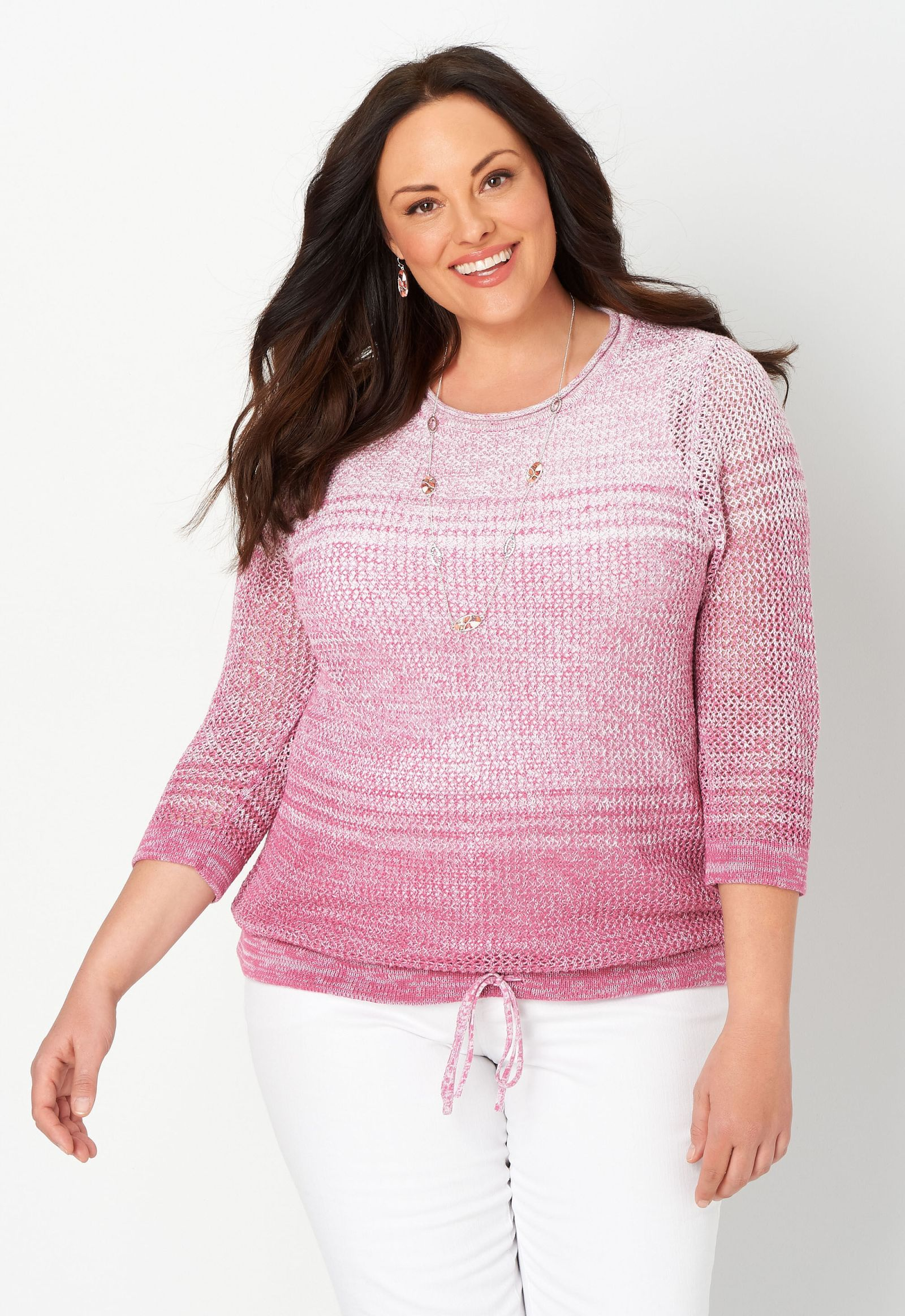 Colorblock Marled Mesh Plus Size Pullover Sweater 2