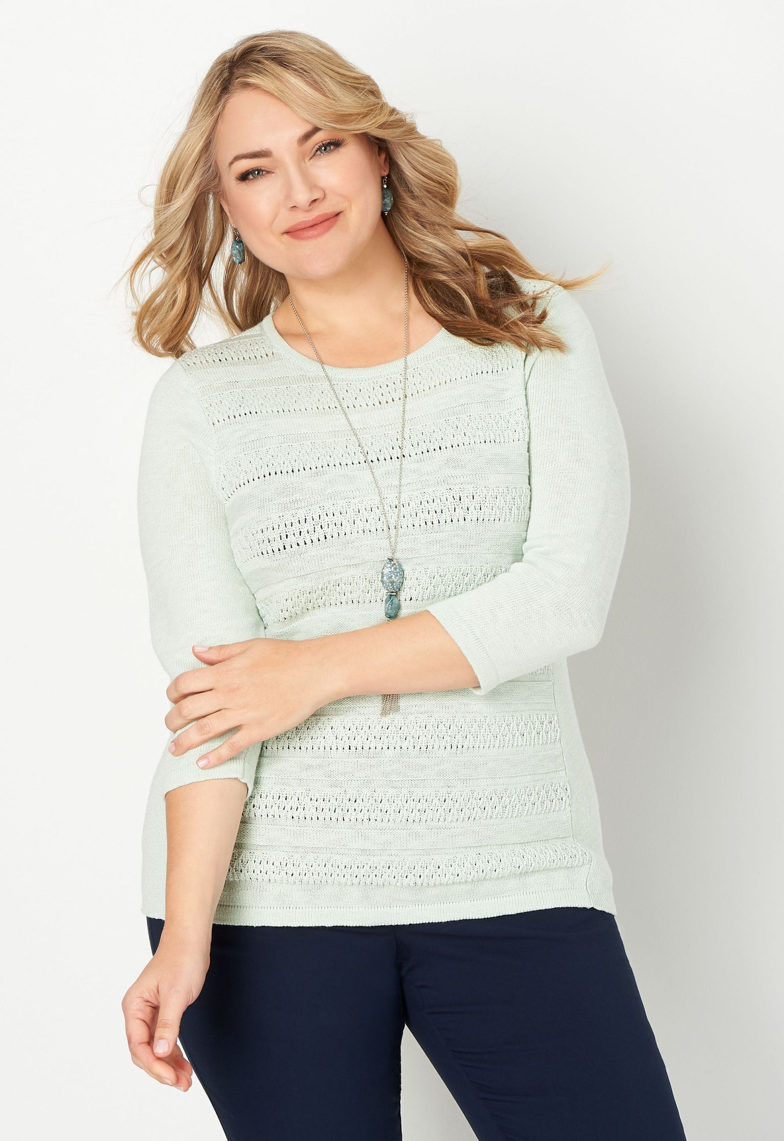Solid Plus Size Pullover Sweater 2