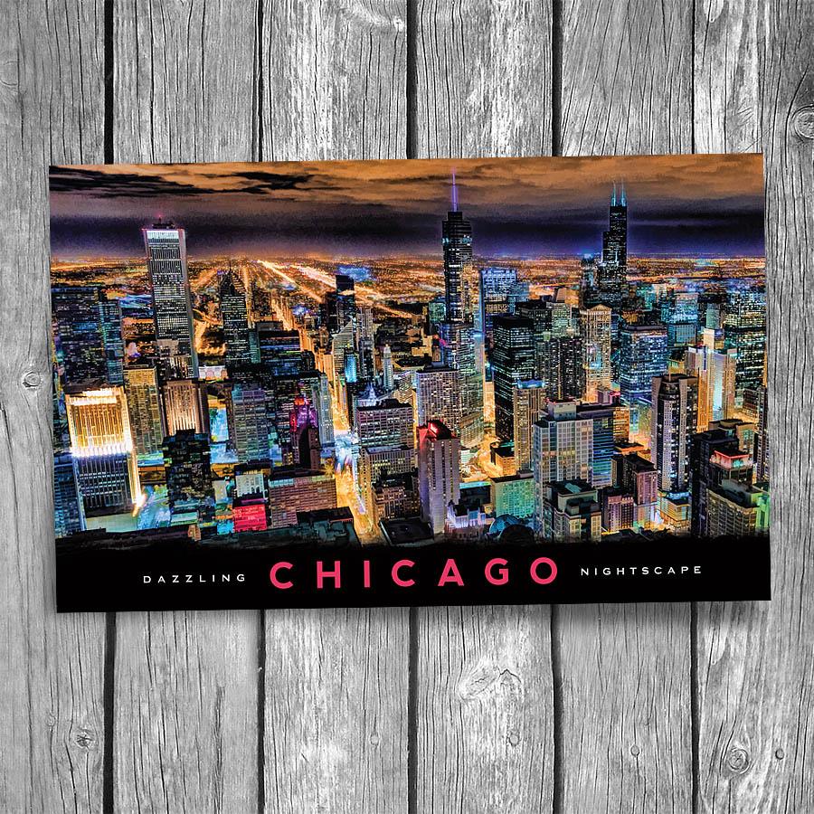 Chicago At Night Postcard Christopher Arndt Postcard Co