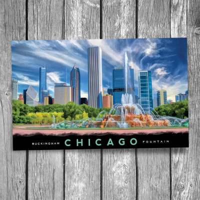 Buckingham Fountain and Skyscrapers Chicago Postcard
