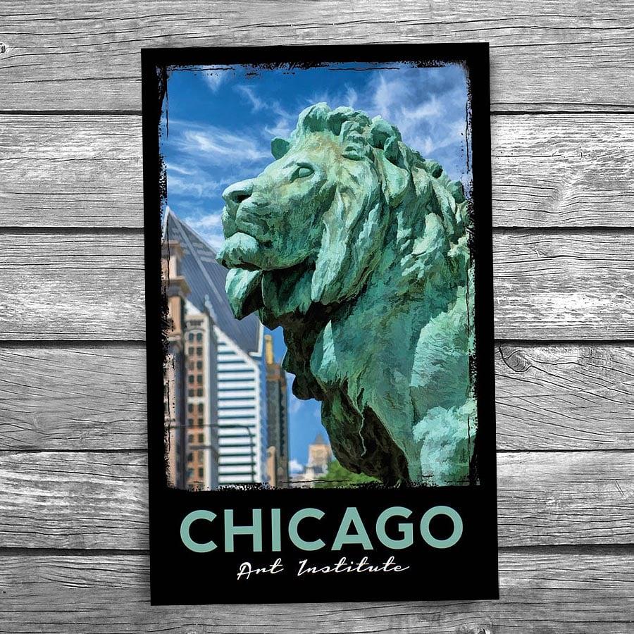 Art Institute Of Chicago Bronze Lion Postcard