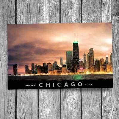 Gotham City Chicago Skyline Postcard