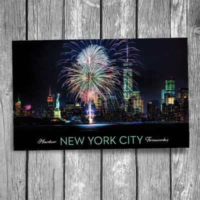 New York City Fireworks Postcard