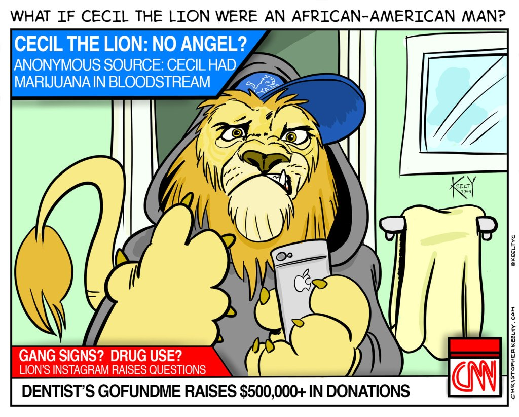 What if Cecil the Lion Were an African-American Man? - Comic by Christopher Keelty