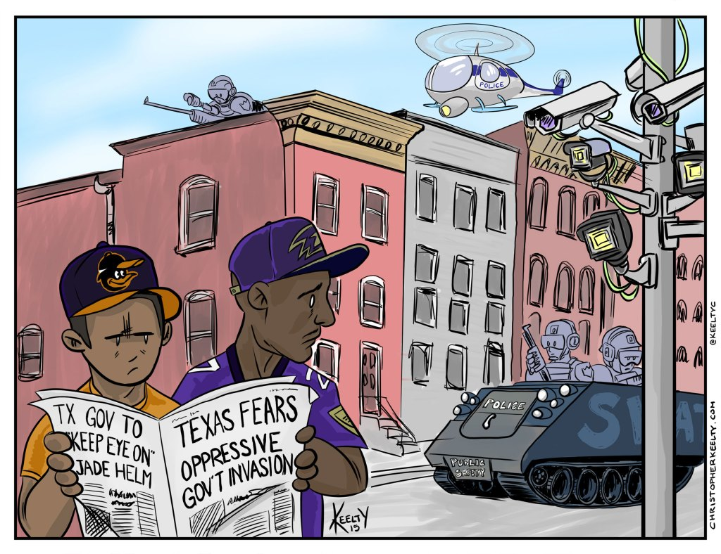 Baltimore v Texas - Comic by Christopher Keelty