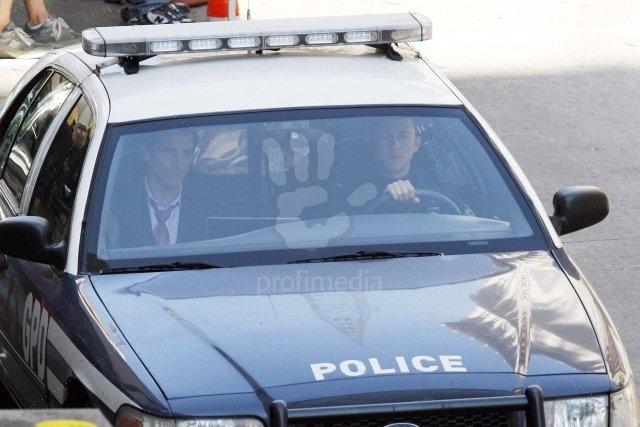 Bruce Wayne (Christian Bale) et John Blake (Joseph Gordon-Levitt) sur le tournage de The Dark Knight Rises à Los Angeles