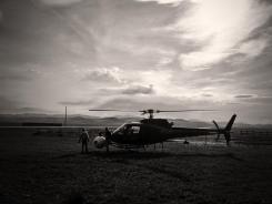 Un hélicoptère équipé d'une caméra pour le tournage d'Interstellar