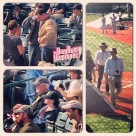 Christopher Nolan et ses acteurs au Seaman Stadium d'Okotoks pour le tournage d'Interstellar