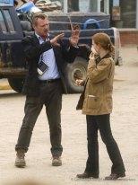 Christopher Nolan et Jessica Chastain pendant le tournage d'Interstellar à Lethbridge