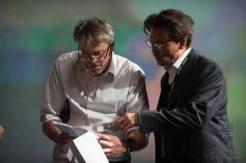 Wally Pfister et Johnny Depp sur le tournage de Transcendence