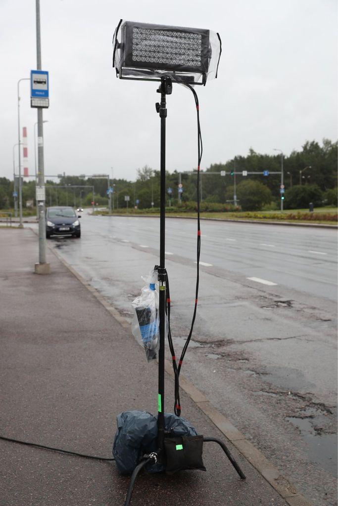 Tournage de Tenet sur la route Laagna tee en Estonie, le 10 juillet 2019