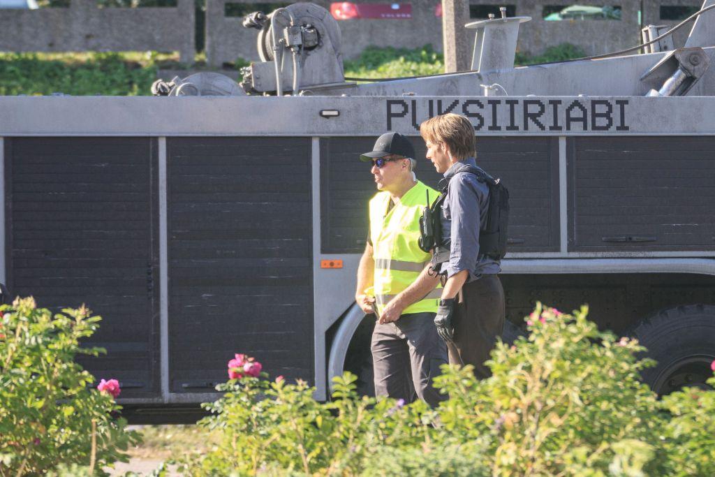 La doublure de Robert Pattinson pendant le tournage de Tenet sur Laagna tee, Estonie, le 17 juillet 2019