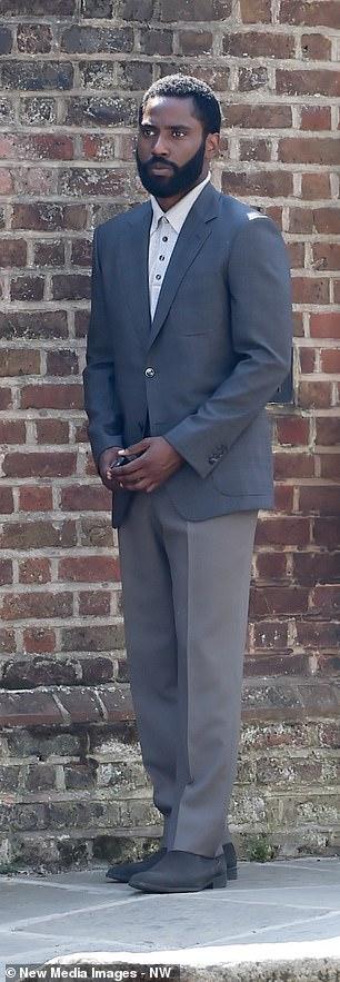John David Washington pendant le tournage de Tenet à Hampstead, au nord de Londres, le 27 août 2019