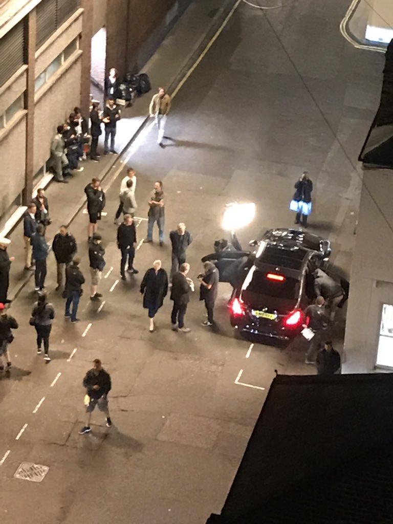 Pendant le tounage de Tenet à Londres, le 2 septembre 2019