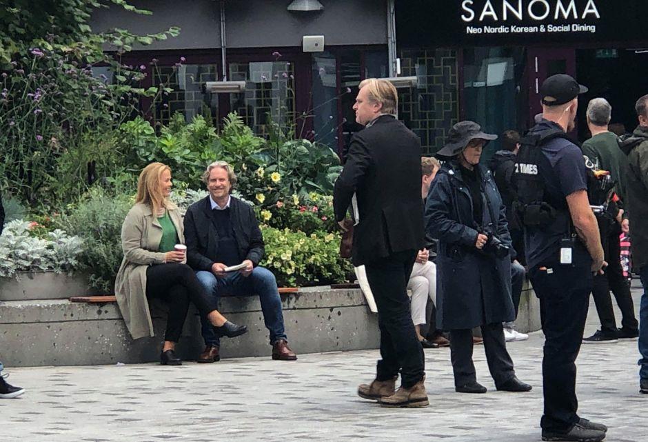 Christopher Nolan pendant le tournage de Tenet à Oslo, Norvège, le 5 septembre 2019