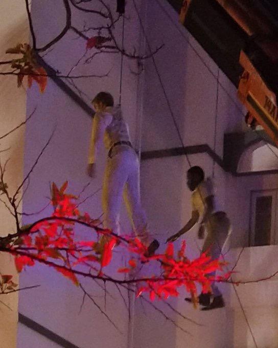 Les doublures de Robert Pattinson et John David Washington pendant le tournage de Tenet à Mumbai, Inde