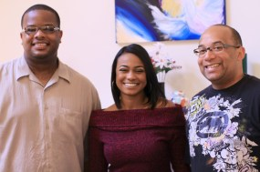 """L to R: Cornelius Booker III, Tatyana Ali, Christopher C. Odom on the set of """"23rd Psalm: Redemption"""""""