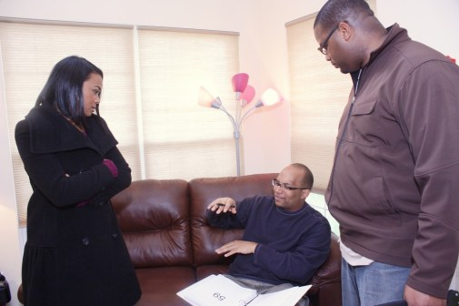 "L to R: Tatyana Ali, Christopher C. Odom, Cornelius Booker III on the set of ""23rd Psalm: Redemption"""