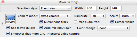 Movie settings in capture software