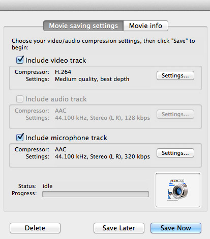 Compression settings for captured movie