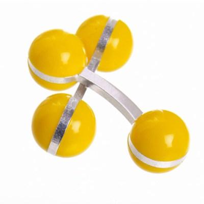 colour ball cufflinks yellow