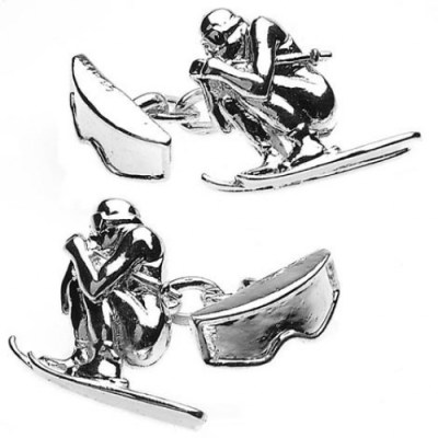 skiing cufflinks